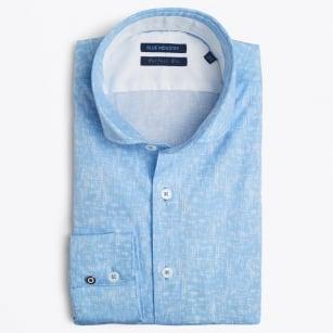 | Linen Effect Print Shirt - Blue