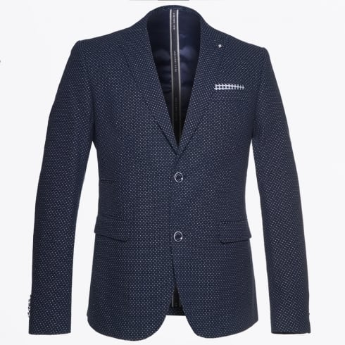 Blue Industry - Pin Dot Print Jacket - Navy