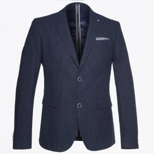 | Pin Dot Print Jacket - Navy