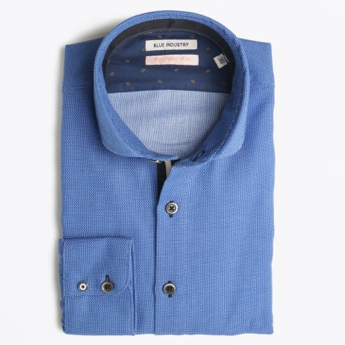 Blue Industry - Placket Detail Oxford Shirt - Blue