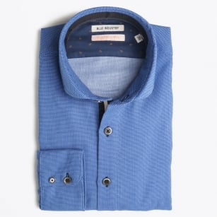 - Placket Detail Oxford Shirt - Blue