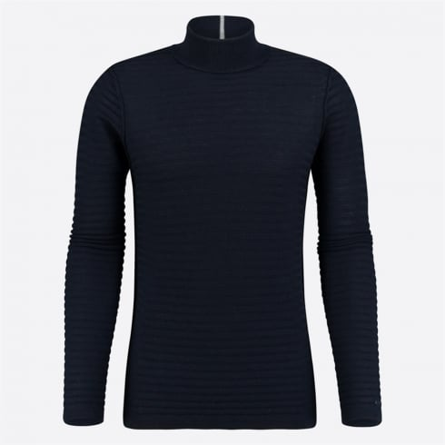Blue Industry - Ribbed Knit Polo Neck Knit - Navy