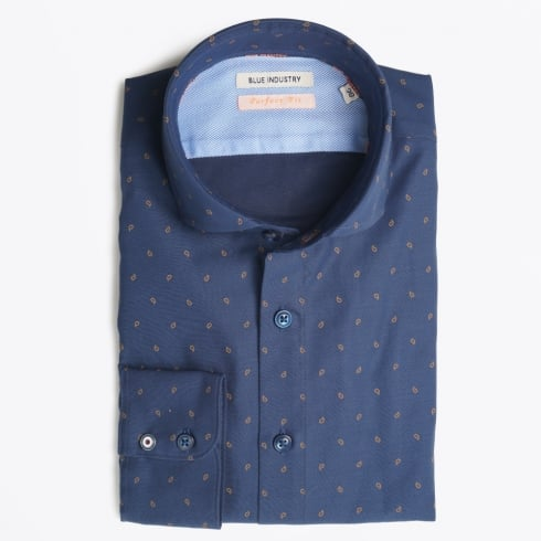 Blue Industry - Small Paisley Print Shirt - Blue