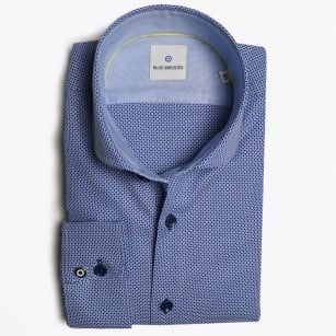 - Small Spot Cutaway Shirt - Blue/Navy