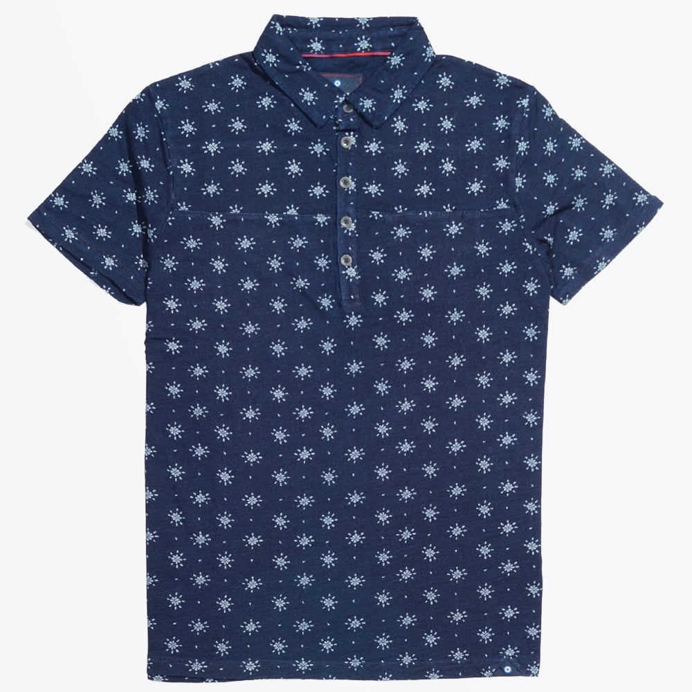 Star print polo shirt navy polo shirts mens polo for Polo shirts for printing