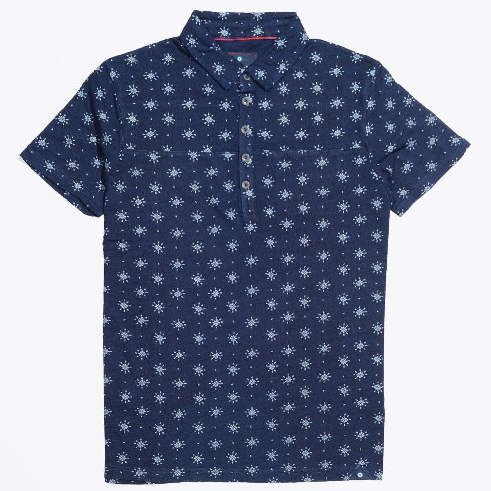 Star print polo shirt navy polo shirts mens polo for Mens shirt with stars