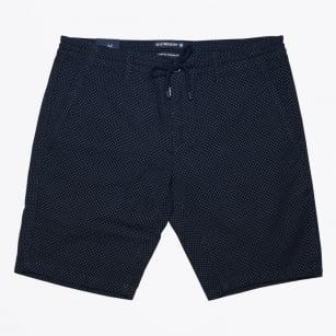| Stretch Cotton Dot Jogger Short - Navy
