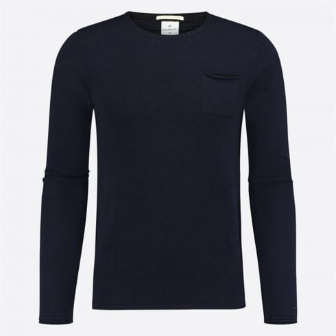 Blue Industry - Striped Back Crew Knit - Navy