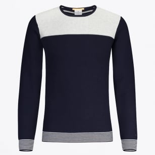 - Striped Crew Neck Knit Sweater - Navy