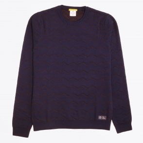 - Textured Zig-Zag Sweater - Navy