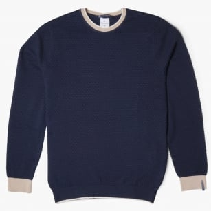 - Tipped Crew Neck Knit Sweater - Navy
