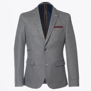 | White Dot Detail Blazer - Grey