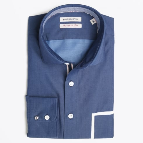 Blue Industry - White Pocket Detail Shirt - Blue
