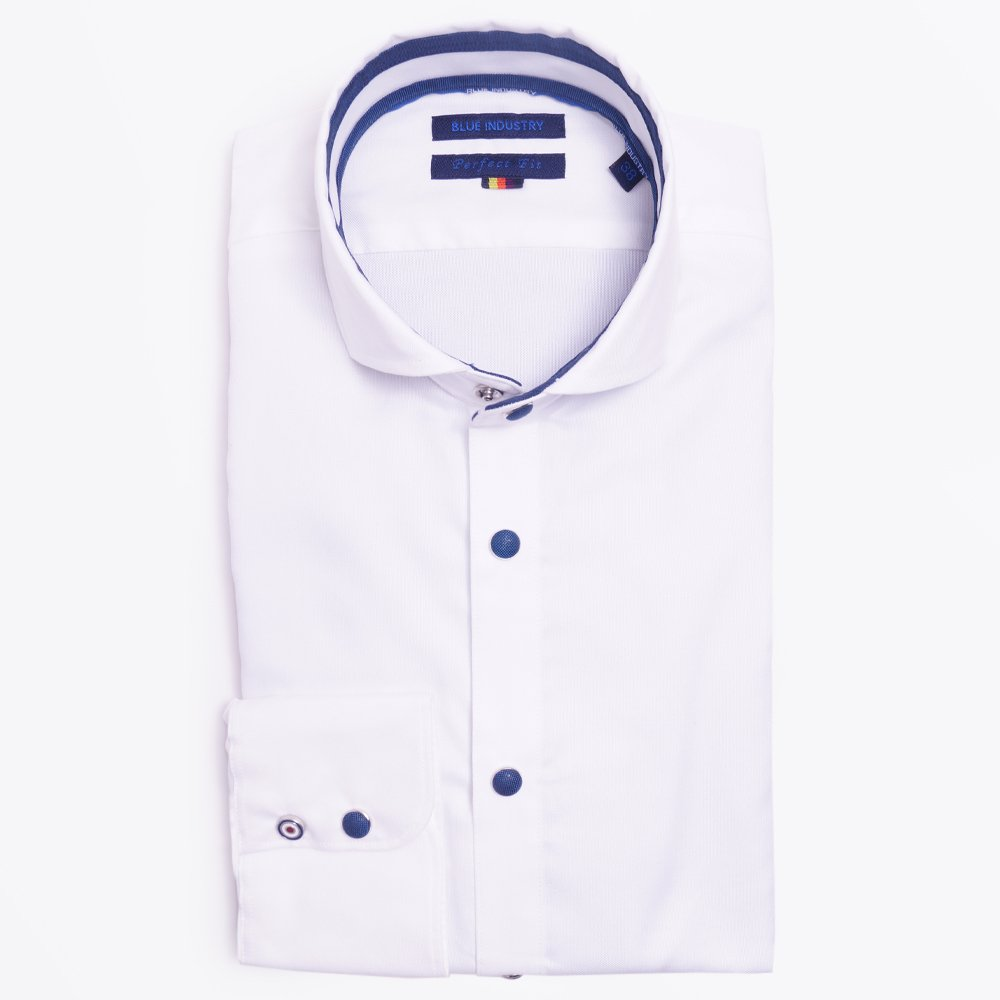 Blue Industry | Shirt With Popper Buttons - White | Mr & Mrs Stitch