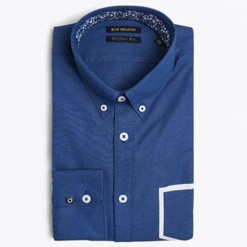 Blue Industry - White Trim Pocket Shirt - Navy