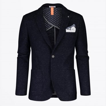- Wool Textured Blazer - Navy