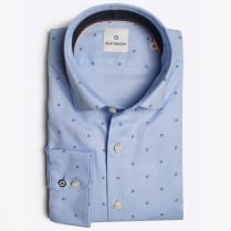 - Woven Circle Pattern Shirt - Blue