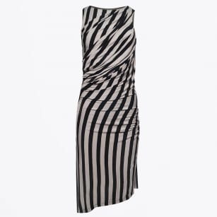 - Artemis Striped Midi Dress - Black/Grey