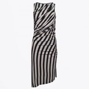 | Artemis Striped Midi Dress - Black/Grey
