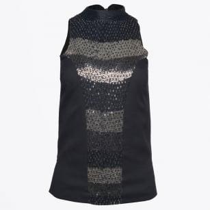 | Guard Embellished Beaded Top - Black