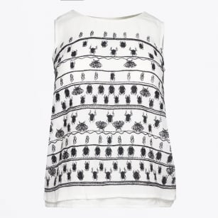 | Invaders Insect Print Top - White/Black