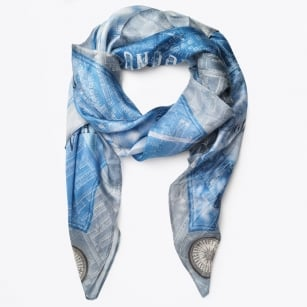 | London By Night Map Print Scarf - Blue