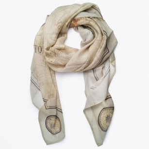| Old London Map Silk Scarf - Beige