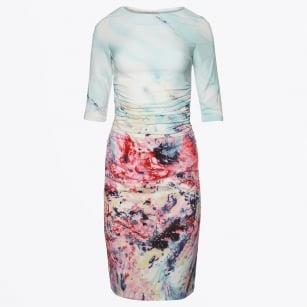   Karen 3/4 Length Sleeve Printed Dress - Placement