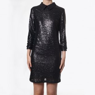 - Pixie Peter Pan Collar Dress - Black Sequins
