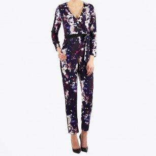 | Romy Floral Print Jumpsuit - Blue