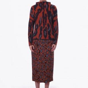 | Lavionas Printed Skirt | Cognac