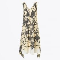 - Quinesa V-Neck Swing Printed Dress - Black