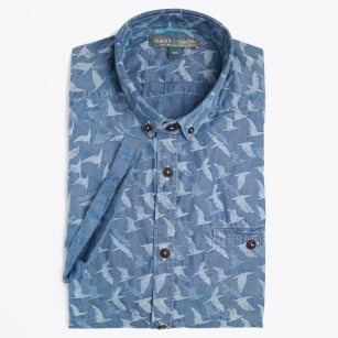 | Bird Jacquard Short Sleeve Shirt - Denim