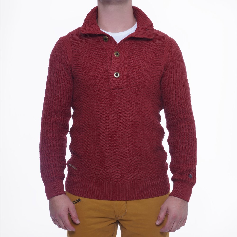 High Neck Button Jumper | Mens Sweater | Sweaters For Men | Cast Iron