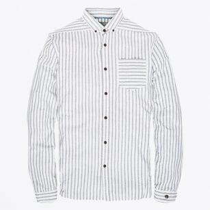 | Cotton Linen Stripe Shirt - Grey