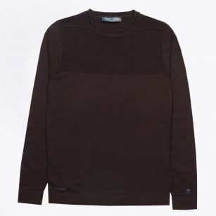 - Cotton Melange Crewneck - Burgundy