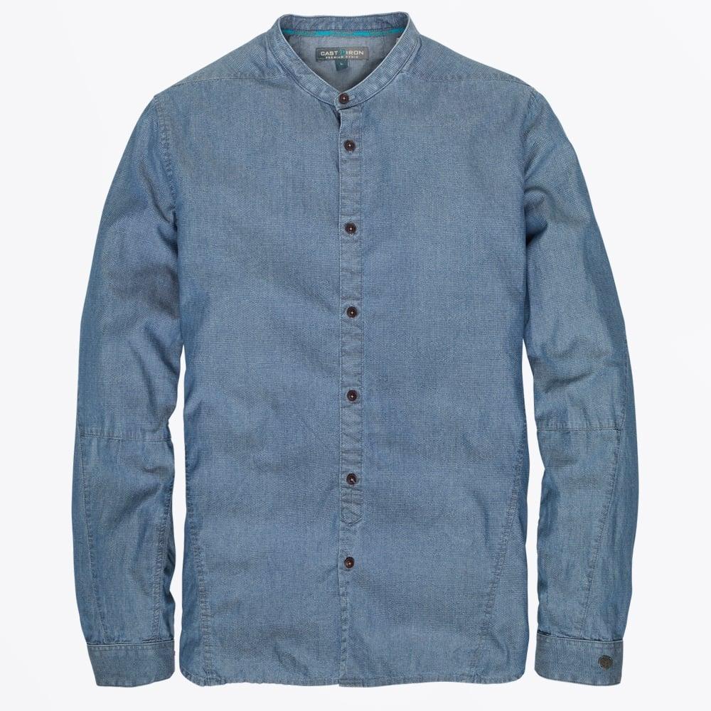 Cast iron denim grandad collar shirt indigo mr mrs Mens grandad collar shirt