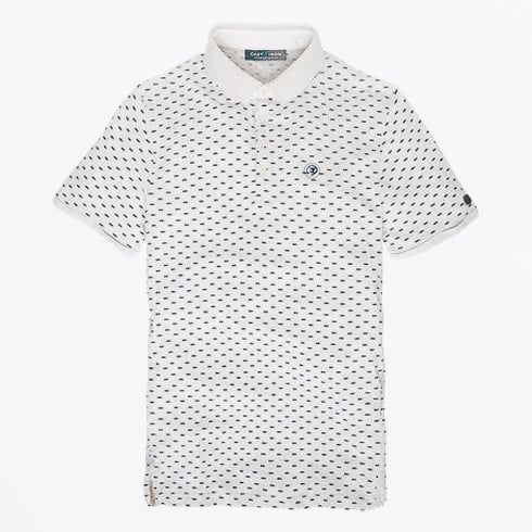 Cast Iron - Dot Printed Polo Shirt - Natural