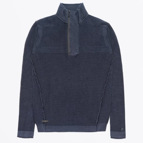 Cast Iron - Half Zip Knitted Pullover - Navy