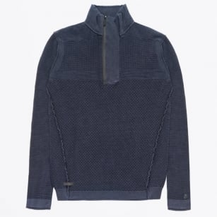 - Half Zip Knitted Pullover - Navy