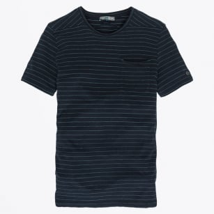 - Jacquard Stripe T-Shirt - Navy