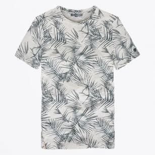 - Palm Printed T-Shirt - Ashley Blue