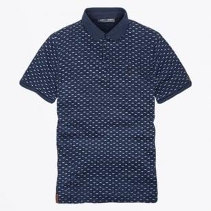 | Printed Polo Shirt - Indigo