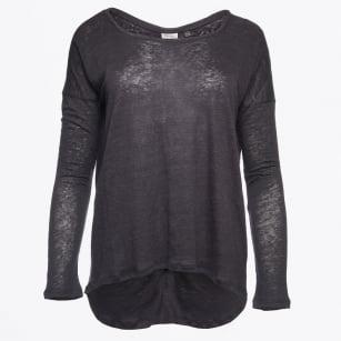   Amber Long Sleeve Stripe Back Knit - Carbon