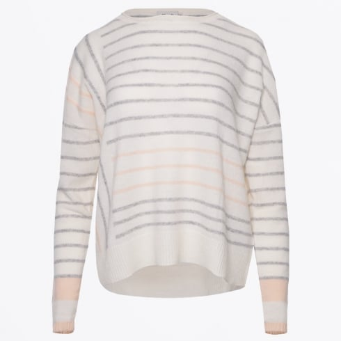 Charli - Charlo Block Stripe Jumper - Ivory/Grey