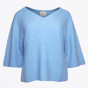   Clyde Crop V Neck Knit - Sky Blue