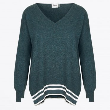 - Nanci - Stripe V-Neck Jumper - Green