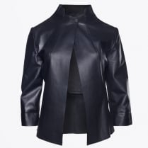 - Eugenie Brushed Lamb Leather Jacket - Indigo