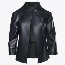 - Eugenie One Button Leather Jacket - Black