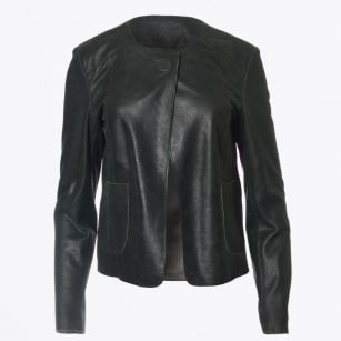 | Gail Crackle Leather Jacket - Grass
